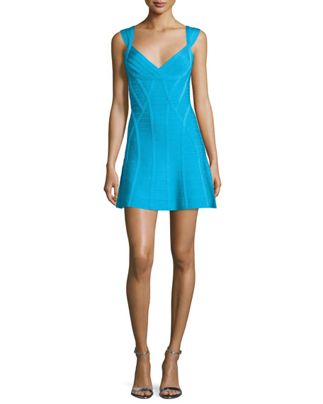 Herve Leger Sleeveless Flounce-Hem Tank Dress, Caribbean Blue