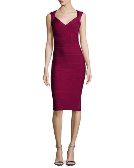Herve Leger Sleeveless V-Neck Bandage Dress, Berry