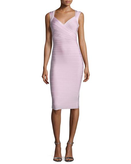 Herve Leger Sleeveless V-Neck Bandage Dress, Peony Pink