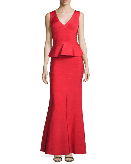 Herve Leger Sleeveless V-Neck Peplum Gown, Coral Poppy