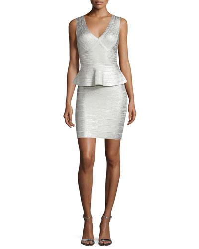 Sleeveless Metallic Peplum Dress, Silver Combo