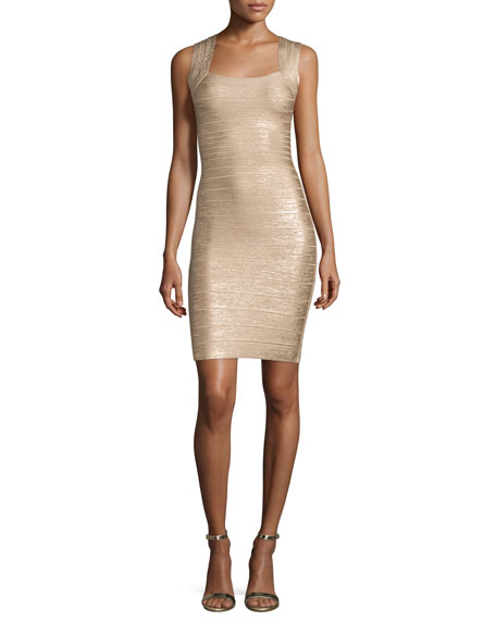 Herve Leger Square-Neck Metallic Tank Dress, Light Gold