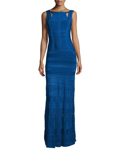 Herve Leger Bandage Gown W/Crochet Skirt, Blue Sapphire