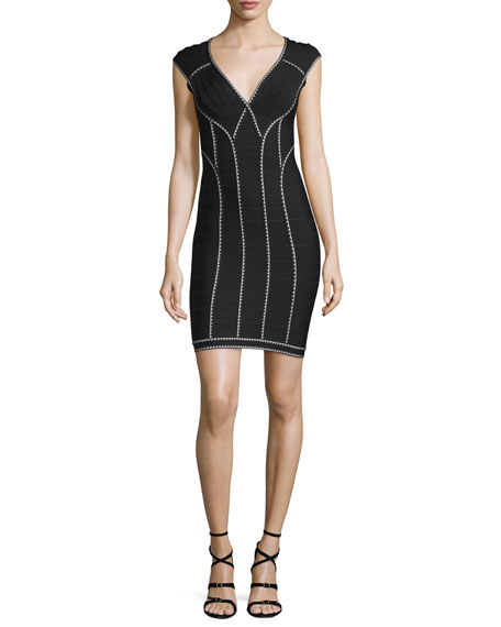 Herve Leger Scallop-Trimmed Bandage Dress, Black Combo