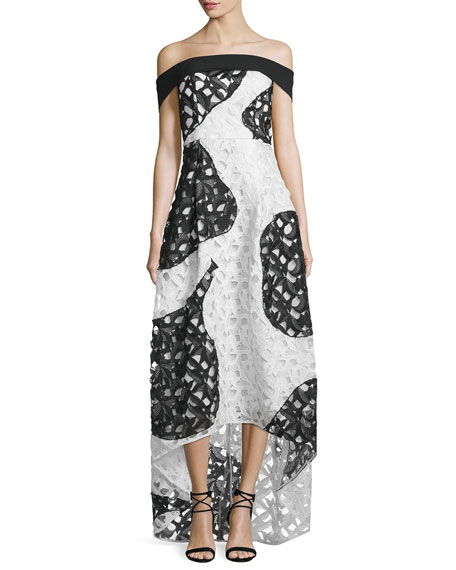 Sachin & Babi Off-the-Shoulder Bicolor Lace High-Low Gown,