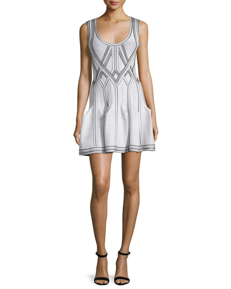 Herve LegerGodet-Pleated Tank Dress, Alabaster/Combo