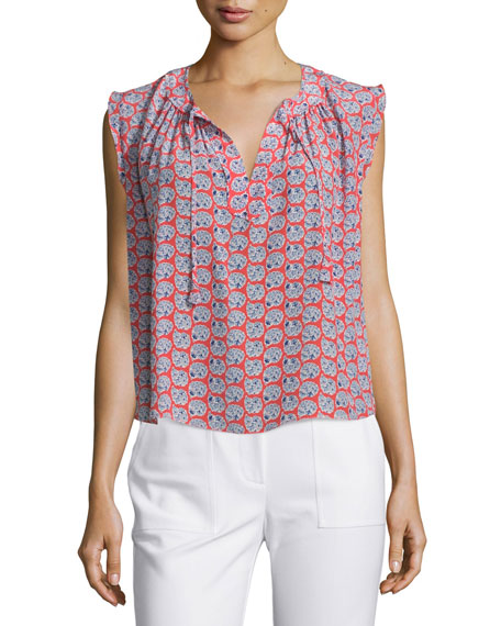 Rebecca Taylor Sleeveless Floral Georgette Top, Tangerine Pink