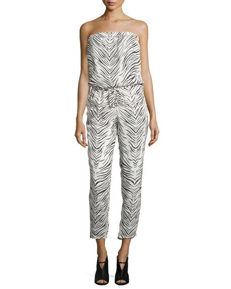 Haute Hippie Strapless Zebra-Print Jumpsuit, Swan/Black
