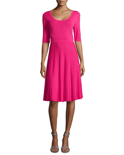 Half-Sleeve Fit & Flare Dress, Princess Pink