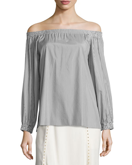 Silk Striped Off-the-Shoulder Blouse, White
