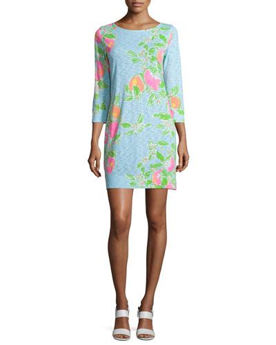 Marlowe 3/4-Sleeve T-Shirt Dress, Pool Blue