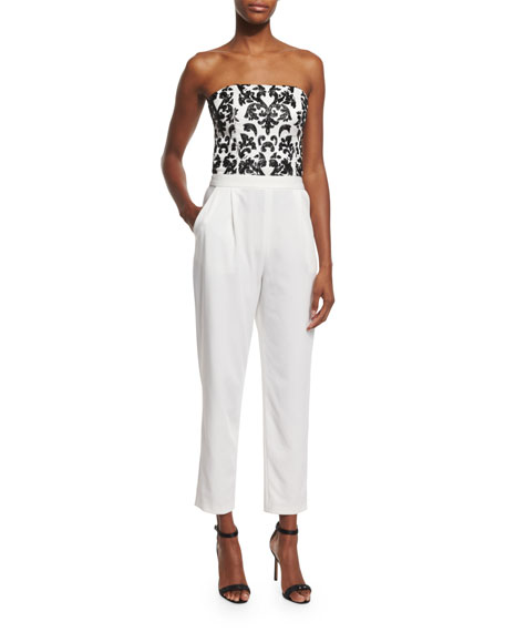 Alice + Olivia Jeri Strapless Beaded Straight-Leg Jumpsuit,