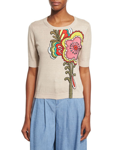 Laden Short-Sleeve 3D-Embroidered Tee, Multicolor