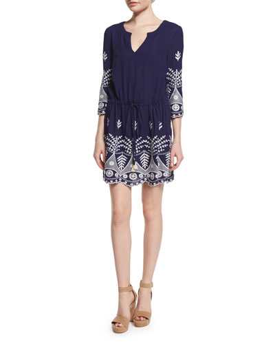 Serene 3/4-Sleeve Embroidered Dress, Denim