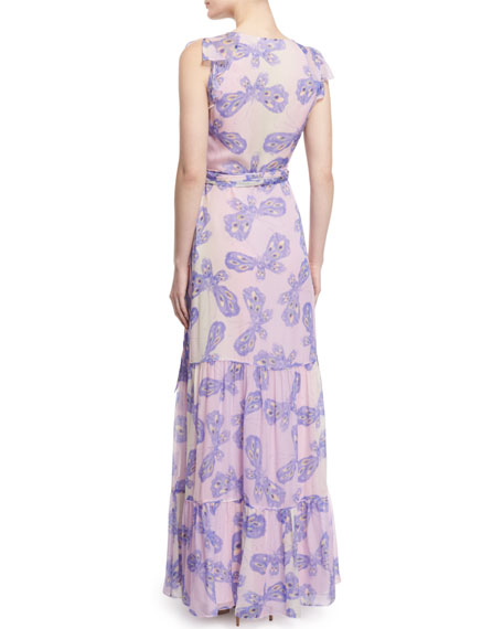 Diane von Furstenberg Stephanie Silk Butterfly Maxi Dress- Periwinkle