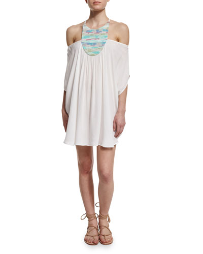 Landscape Off-The-Shoulder High-Neck Caftan