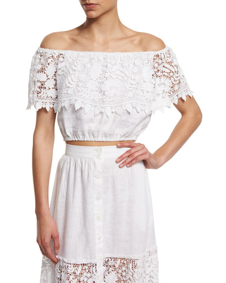 Dakota Off-The-Shoulder Lace Crop Top