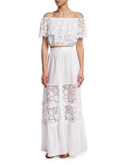 Kimora Lace-Inset Maxi Skirt