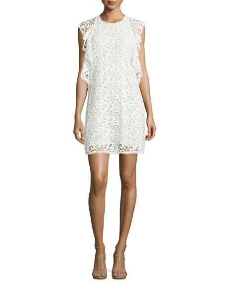 Crochet Lace Flounce Dress, White