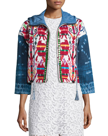 Hiche Mexican Hand-Embroidered Short Jacket, Multi Colors