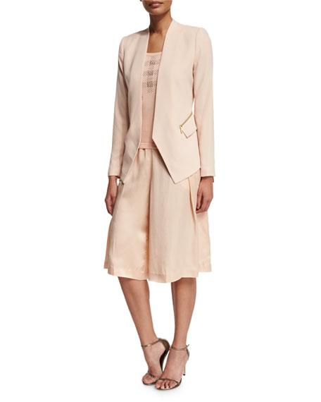 Silk Pleated Long Skort, Blush
