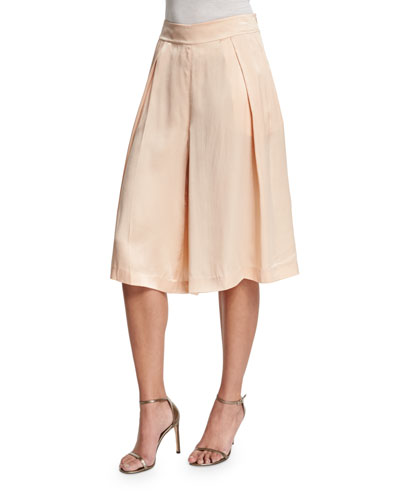 Silk Pleated Long Skort, Blush