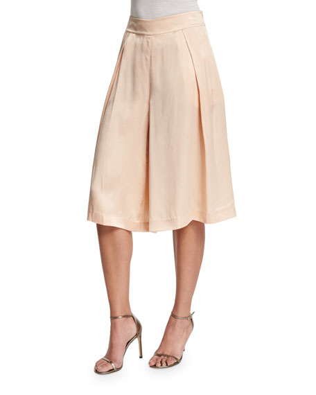 Magaschoni Silk Pleated Long Skort, Blush