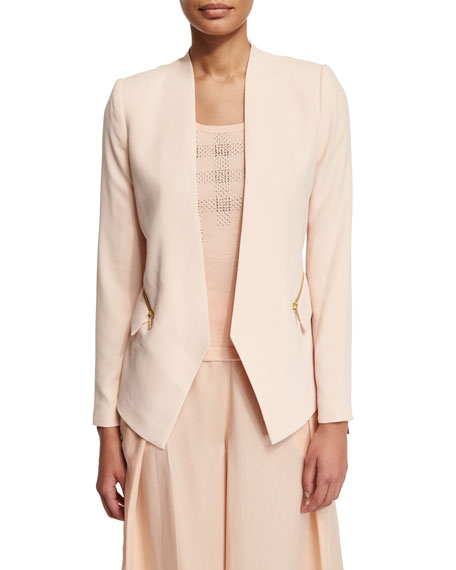 Magaschoni Crepe Zip-Pocket Jacket
