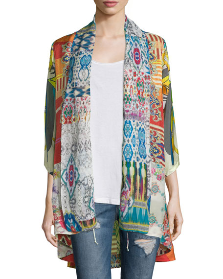 Johnny Was Mix-Print Kimono Jacket, Tassel Necklace &