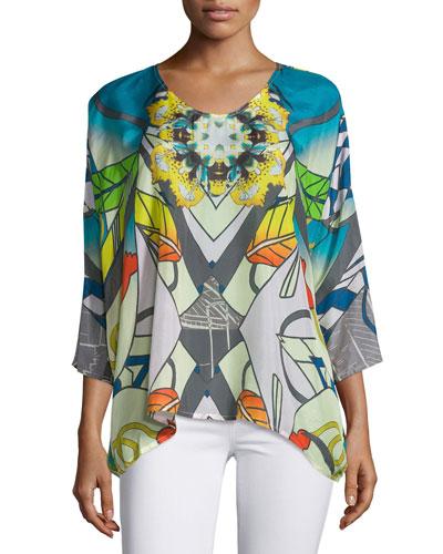 Overlay Dolman-Sleeve Tunic, Plus Size