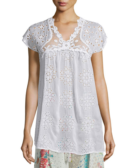 Johnny Was CollectionCap-Sleeve Empire Crochet & Eyelet Blouse