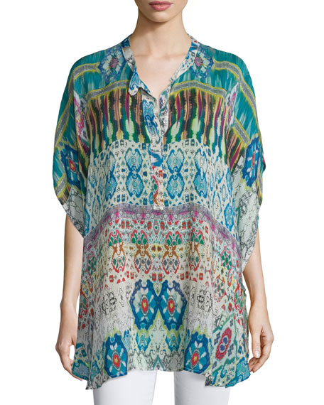 Johnny Was Collection Perro Printed Dolman-Sleeve Poncho, Plus