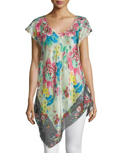 Tropical Flower Short-Sleeve Tunic