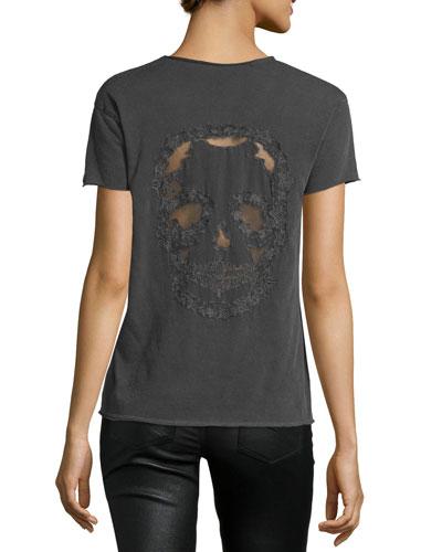 Story Fishnet Mesh-Skull Tee, Charcoal