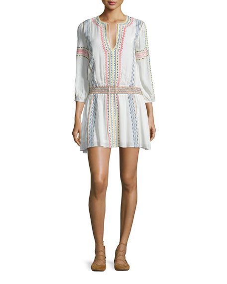 Alice Olivia Jolene Embroidered Smocked Dress White