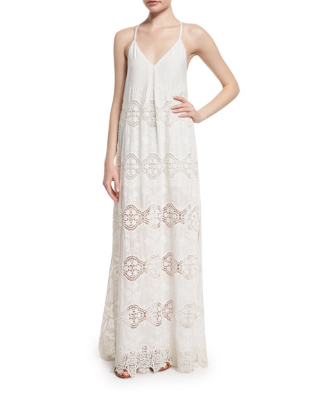 Alice + Olivia Raine Lace-Trim Maxi Dress, White