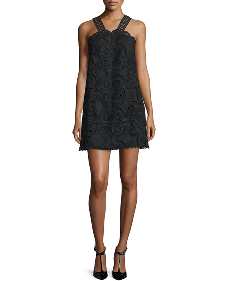 Iva Sleeveless Lace Dress, Black