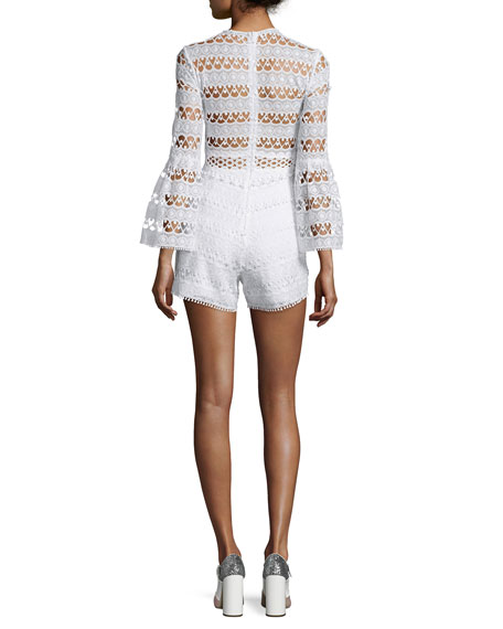 Alexis Jinna Lace Bell-Sleeve Romper, White