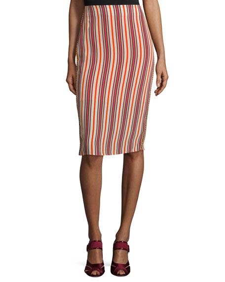 Alexis Leoni Silk Striped Midi Skirt, Multicolor