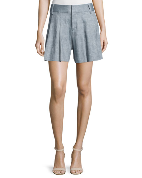 Alice + Olivia Scarlet High-Rise Chambray Flutter Shorts,