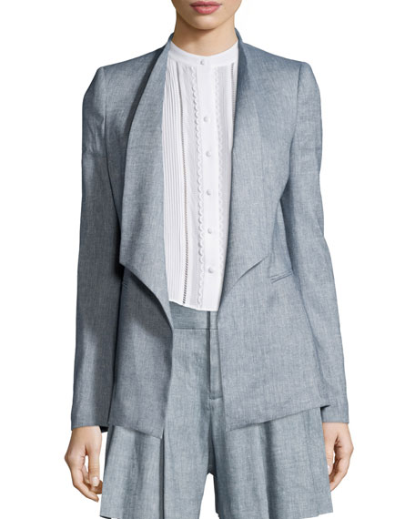 Alice + Olivia Allison Draped-Collar Chambray Blazer, Blue