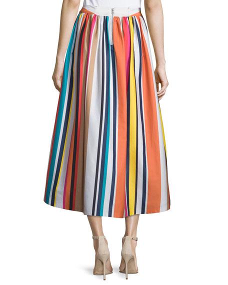 Alice + Olivia Nikola Striped High-Waist Midi Skirt, Multicolor