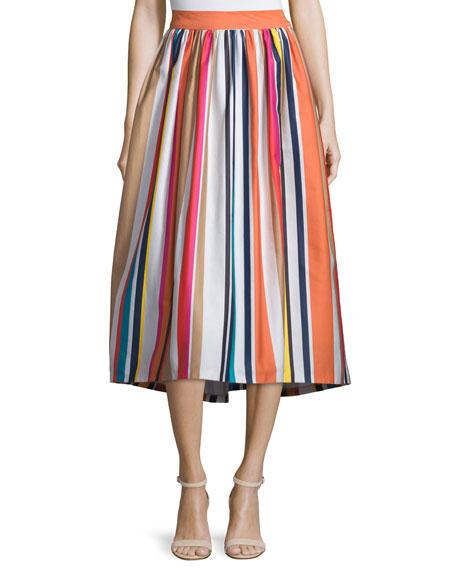 Alice Olivia Nikola Striped High Waist Midi Skirt