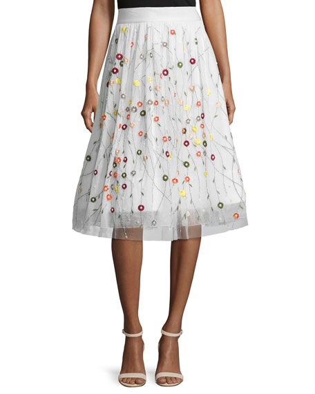 Alice + Olivia Catrina Embroidered Tulle Skirt, Cream