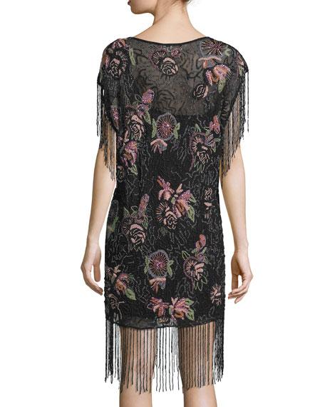 Floral-Embellished Flapper Dress, Black