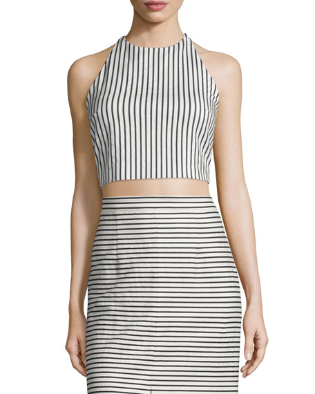 Alice + Olivia Jaymee Striped Cropped Halter Top,