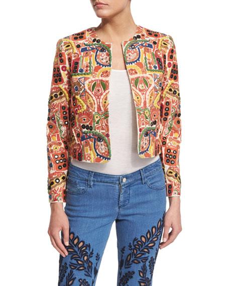 Alice + Olivia Kidman Embroidered Boxy Jacket, Multicolor