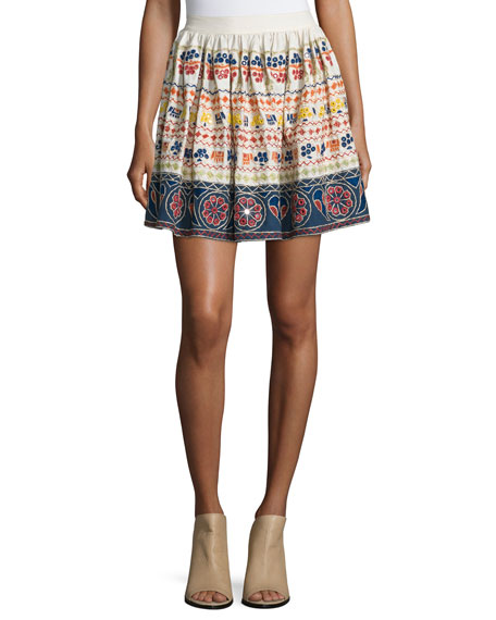Alice + Olivia Tania Embroidered Multipattern Mini Skirt, Multicolor
