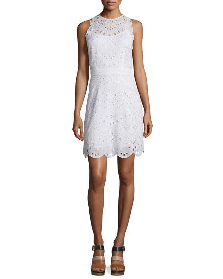 MICHAEL Michael Kors Sleeveless Scallop-Eyelet Dress, White