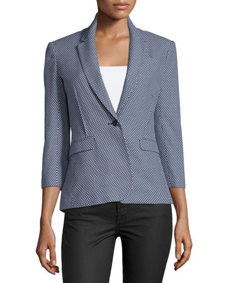 3/4-Sleeve Jacquard Schoolboy Jacket, Navy/White